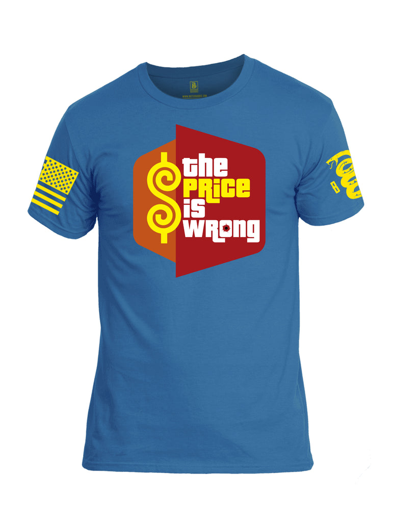 Battleraddle The Price Is Wrong Yellow Sleeve Print Mens Cotton Crew Neck T Shirt