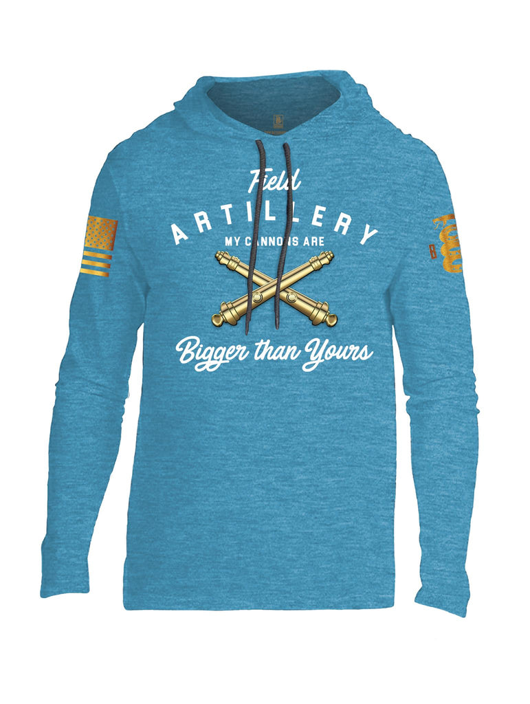 Battleraddle Field Artillery My Cannons Are Bigger Than Yours Brass Sleeve Print Mens Thin Cotton Lightweight Hoodie