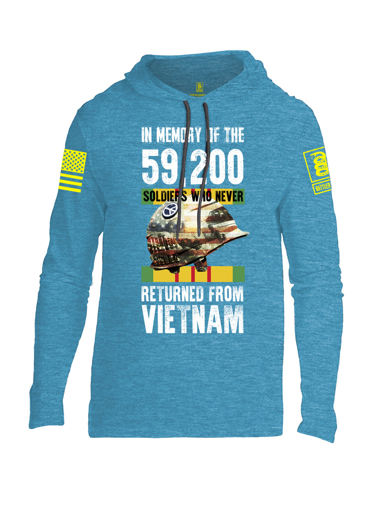 Battleraddle In Memory Of The 59,200 Soldiers Who Never Returned From Vietnam Yellow Sleeve Print Mens Thin Cotton Lightweight Hoodie