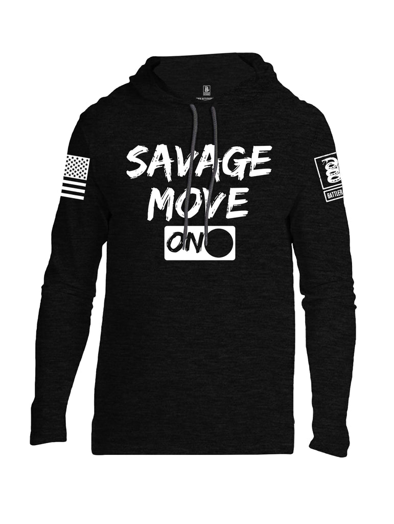 Battleraddle Savage Move On White Sleeve Print Mens Thin Cotton Lightweight Hoodie