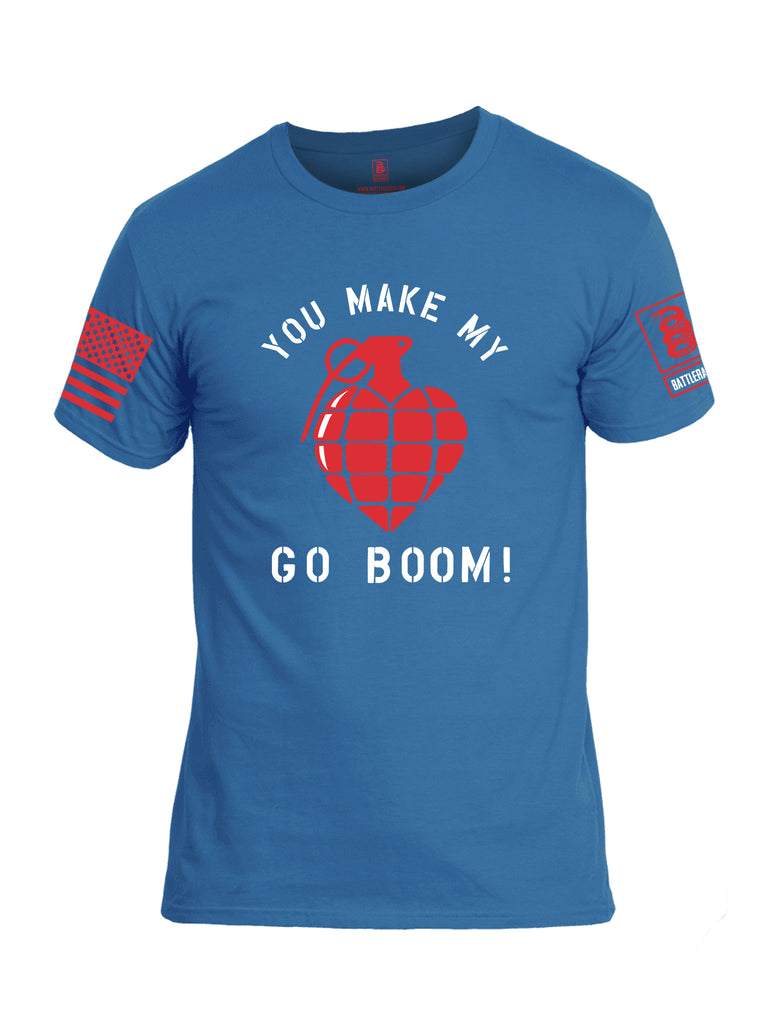 Battleraddle You Make My Heart Go Boom Red Sleeve Print Mens Cotton Crew Neck T Shirt