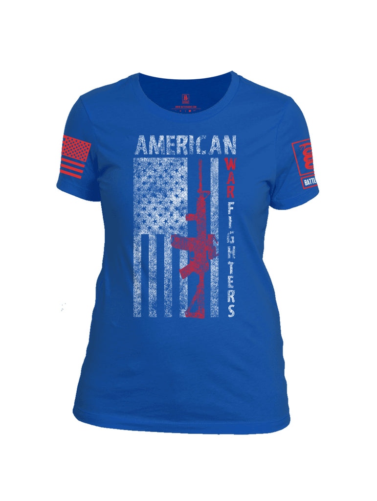 Battleraddle American War Fighters Red Sleeve Print Womens 100% Battlefit Polyester Crew Neck T Shirt