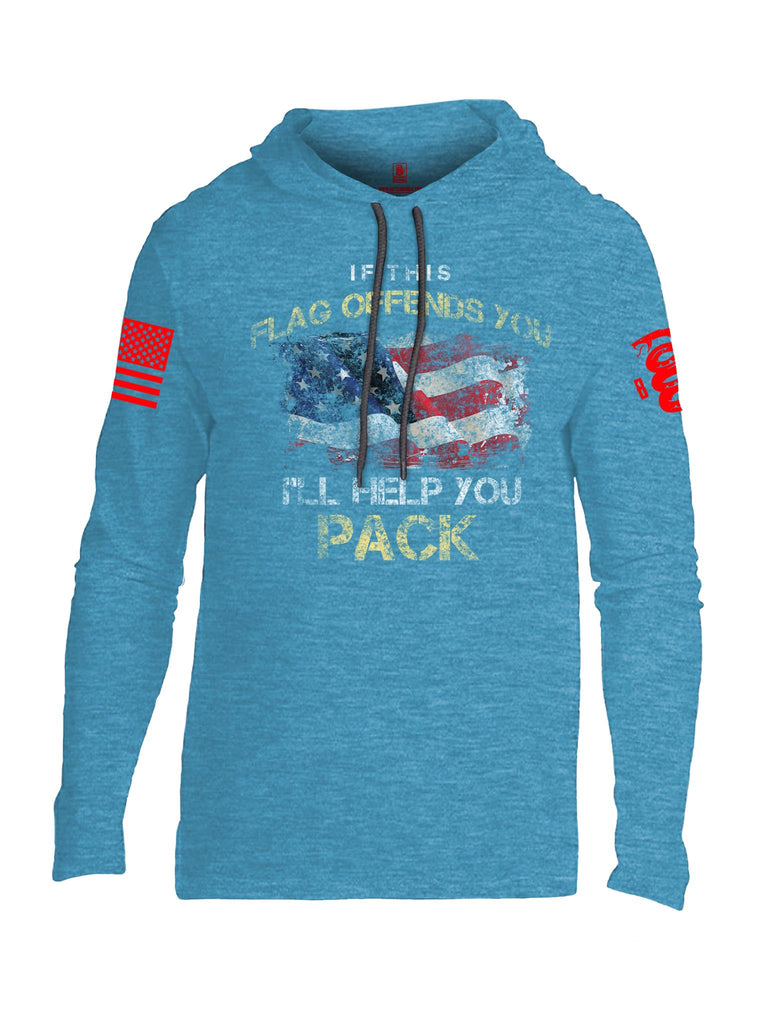 Battleraddle If This Flag Offends You I'll Help You Pack Red Sleeve Print Mens Thin Cotton Lightweight Hoodie