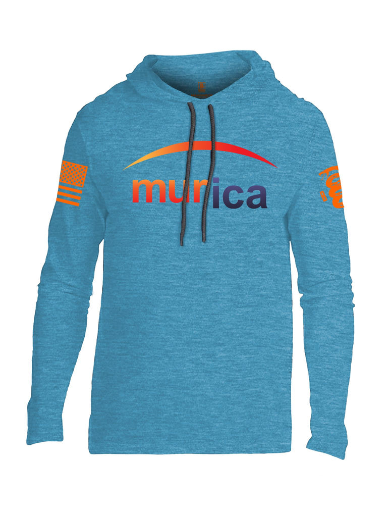 Battleraddle Murica Orange Sleeve Print Mens Thin Cotton Lightweight Hoodie