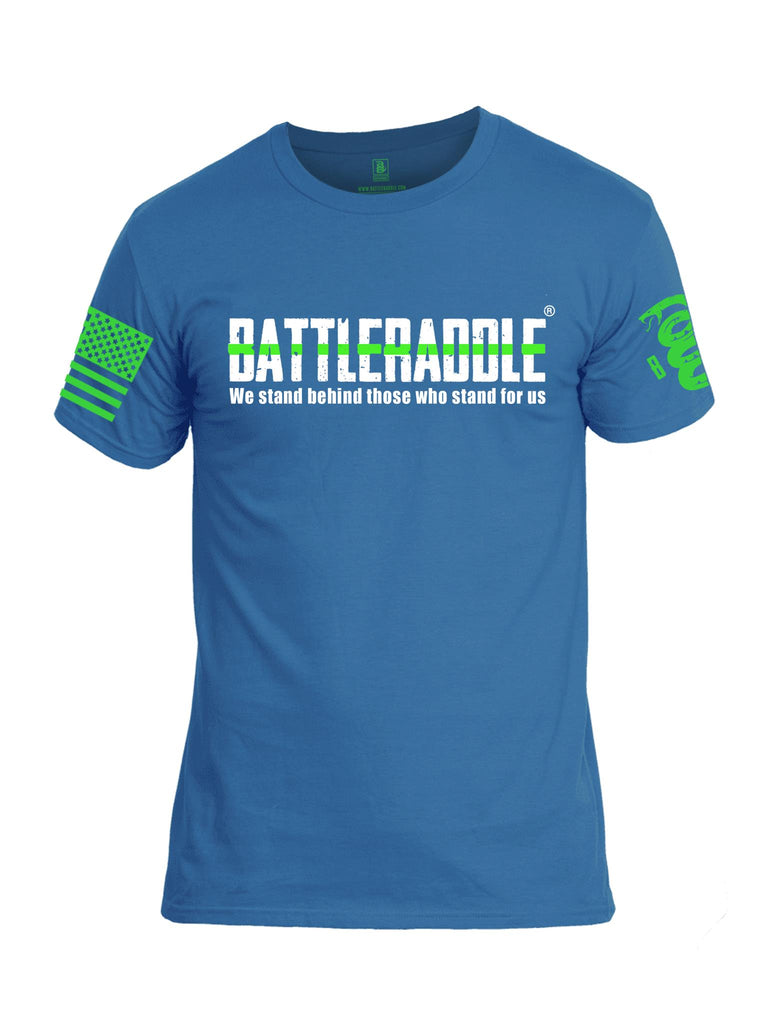 Battleraddle We Stand Behind Those Who Stand For Us Green Line Green Sleeve Print Mens Cotton Crew Neck T Shirt
