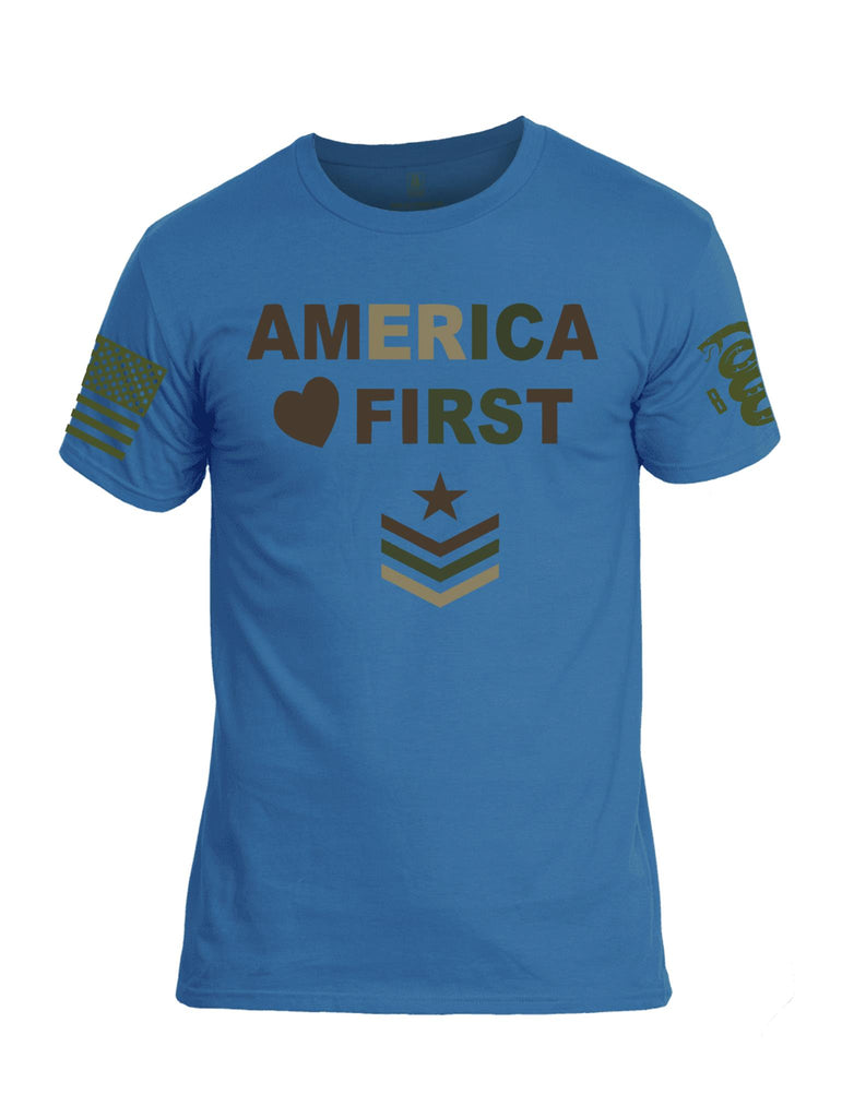 Battleraddle America First Dark Green Sleeve Print Mens Cotton Crew Neck T Shirt - Battleraddle® LLC