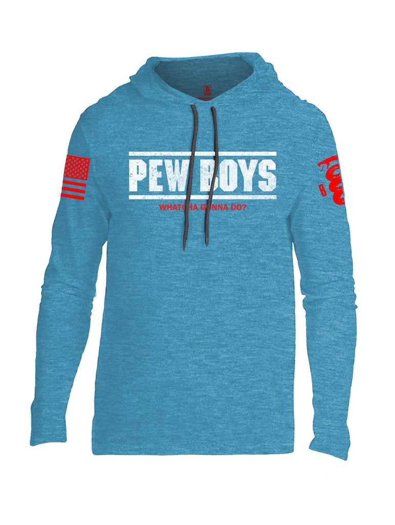 Battleraddle Pew Boys Whatcha Gonna Do? Red Sleeve Print Mens Thin Cotton Lightweight Hoodie