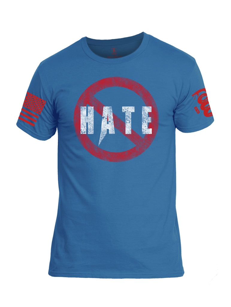 Battleraddle Hate Red Sleeve Print Mens Cotton Crew Neck T Shirt