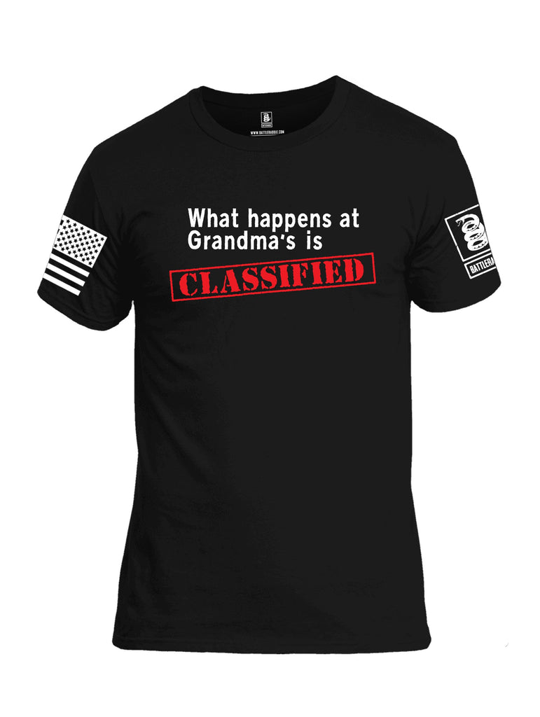 Battleraddle What Happens At Grandmas Is Classified {sleeve_color} Sleeves Men Cotton Crew Neck T-Shirt