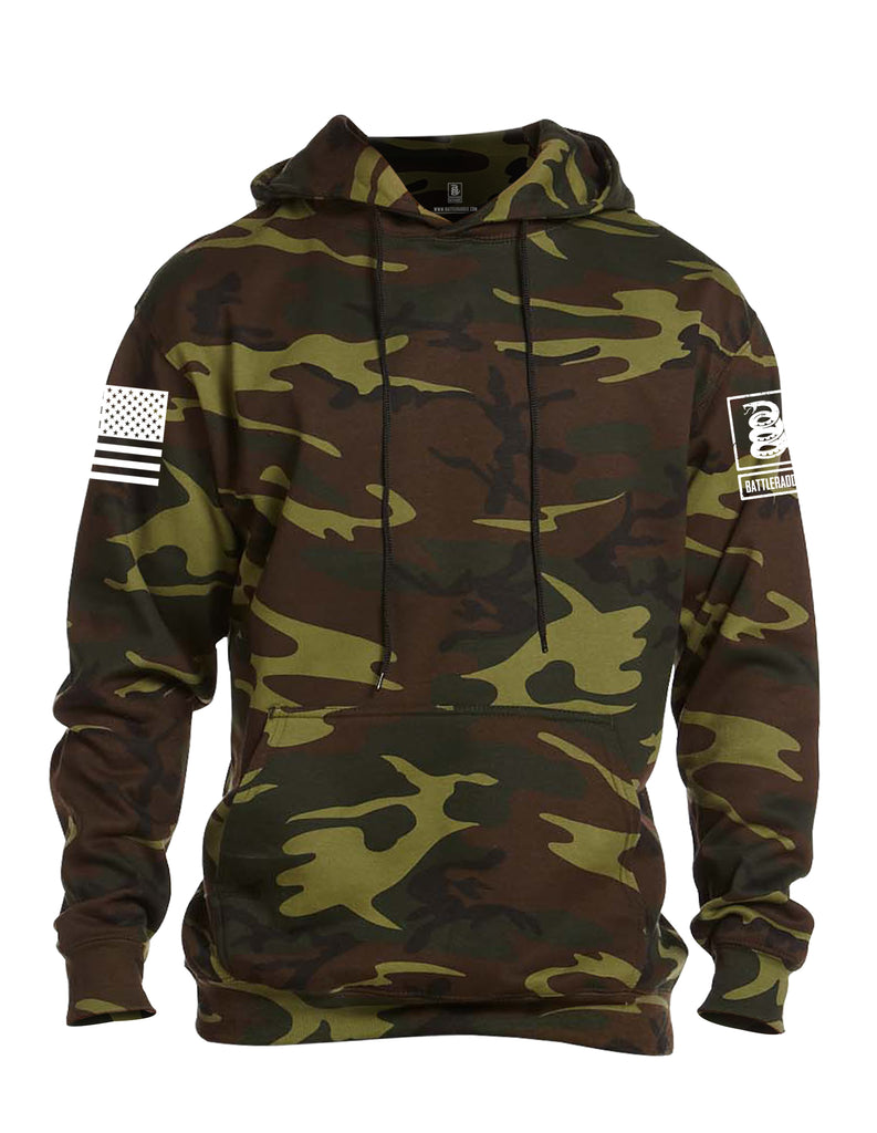 Battleraddle Basic Line White Sleeve Print Mens Camo Blended Fleece Hoodie With Pockets - Battleraddle® LLC