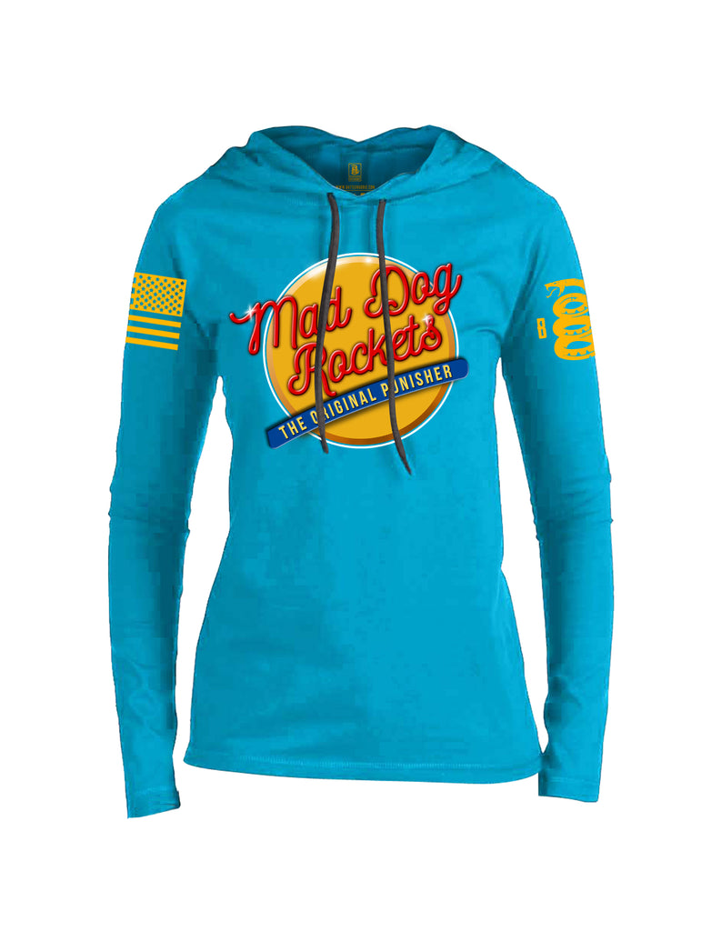 Battleraddle Mad Dog Rockets The Original Expounder Yellow Sleeve Print Womens Cotton Thin Lightweight Hoodie
