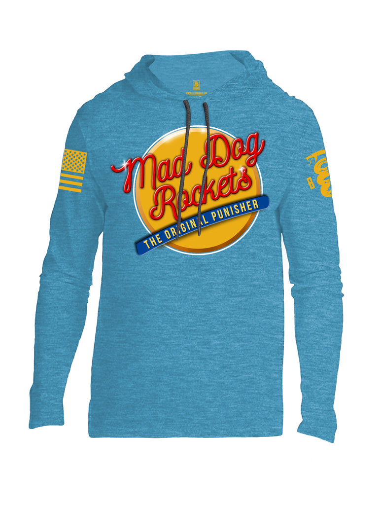 Battleraddle Mad Dog Rockets The Original Expounder Yellow Sleeve Print Mens Thin Cotton Lightweight Hoodie