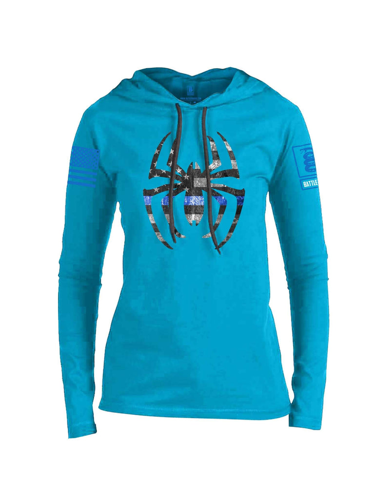 Battleraddle Webman Blue Line Blue Sleeve Print Womens Thin Cotton Lightweight Hoodie
