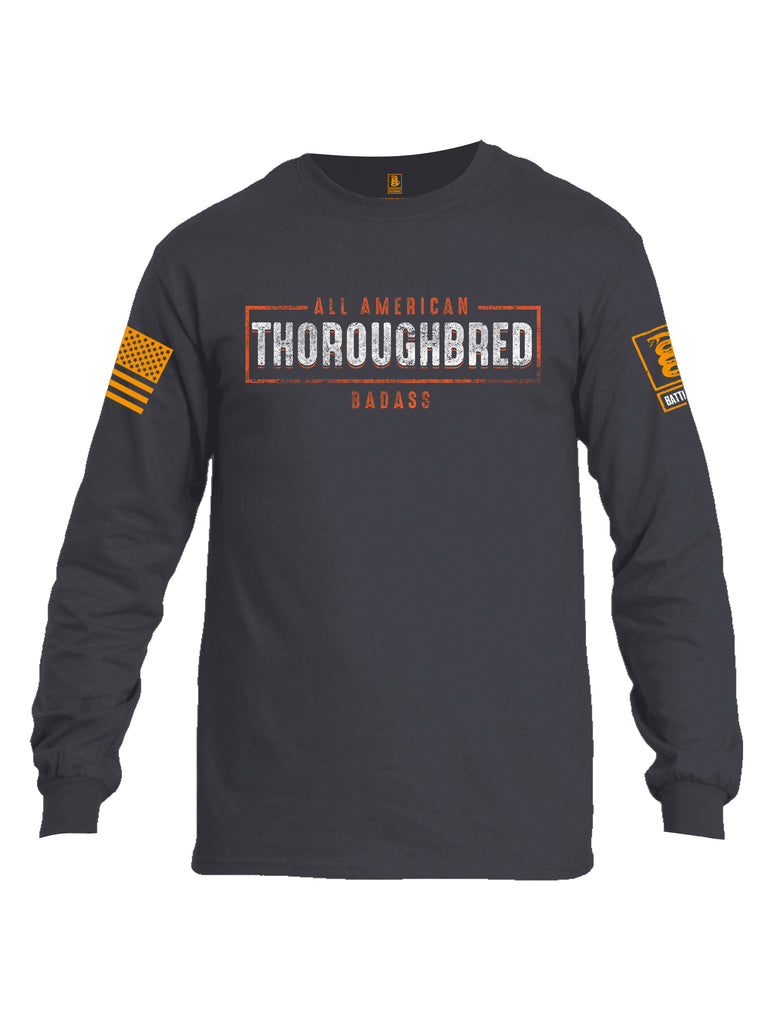 Battleraddle All American Thoroughbred Badass Orange Sleeve Print Mens Cotton Long Sleeve Crew Neck T Shirt