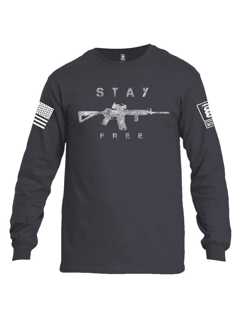 Battleraddle Stay Free White Sleeve Print Mens Cotton Long Sleeve Crew Neck T Shirt