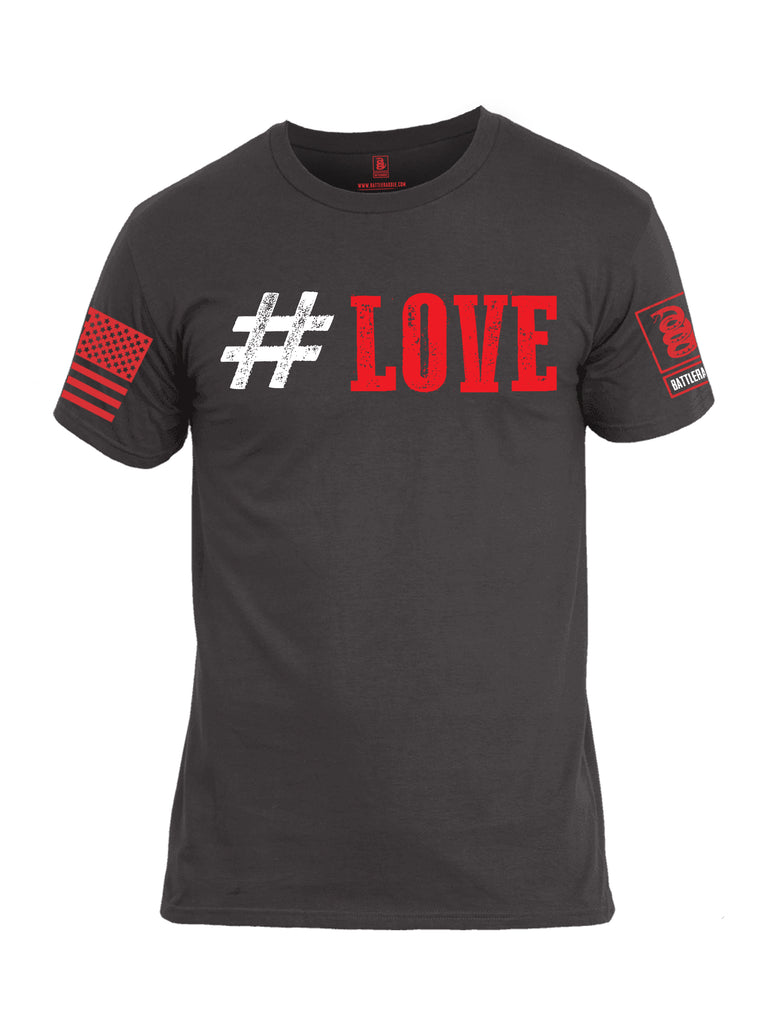 Battleraddle #Love Red Sleeve Print Mens Cotton Crew Neck T Shirt