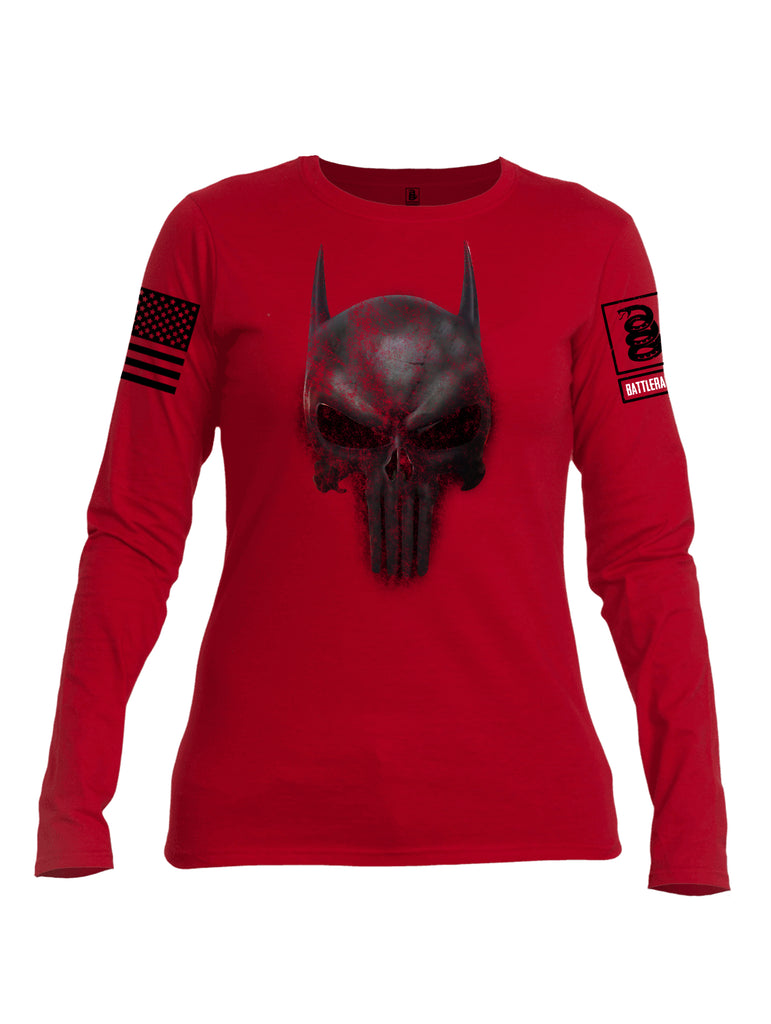 Battleraddle Mr. Vindicator Expounder Bat Black Sleeve Print  Womens Cotton Crew Neck Long Sleeve T Shirt