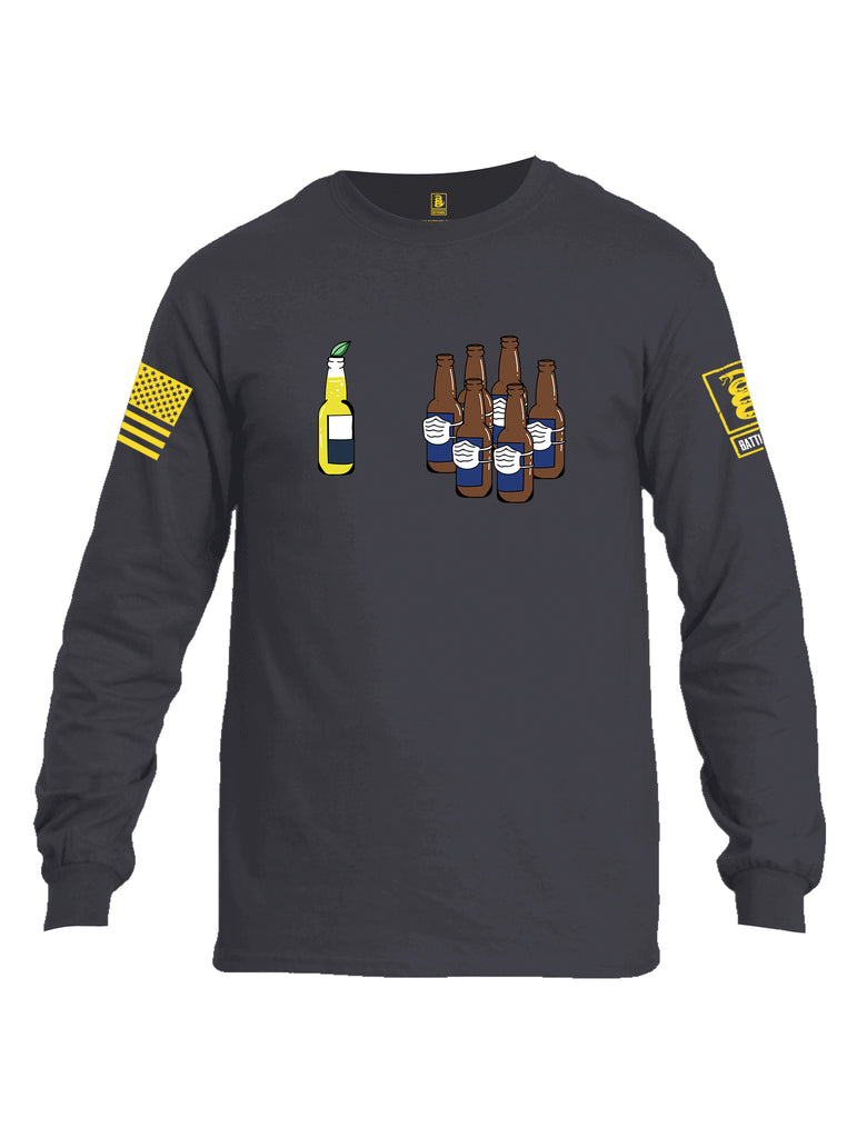 Battleraddle Corona Vs Beer Yellow Sleeve Print Mens Cotton Long Sleeve Crew Neck T Shirt
