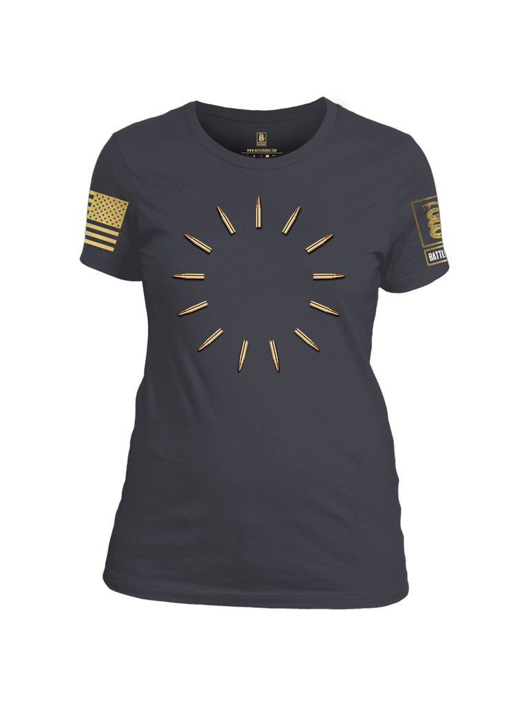 Battleraddle 13 Colonies Brass Bullets Brass Sleeve Print Womens Cotton Crew Neck T Shirt