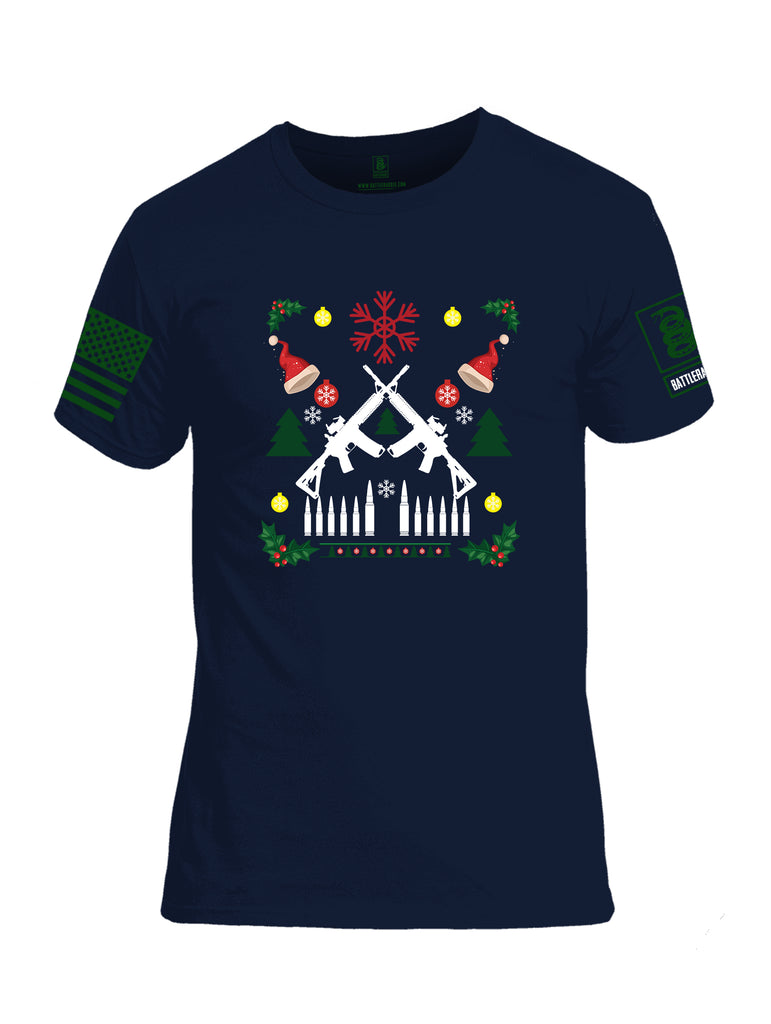 Battleraddle AR15 Cross Rifle Bullet Links Christmas Holiday Ugly Green Sleeve Print Mens Cotton Crew Neck T Shirt