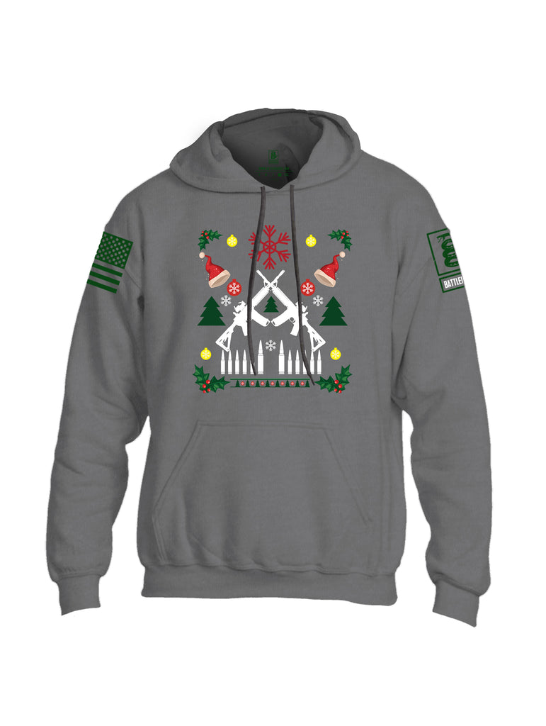 Battleraddle AR15 Cross Rifle Bullet Links Christmas Holiday Ugly Dark Green Sleeve Print Mens Blended Hoodie With Pockets
