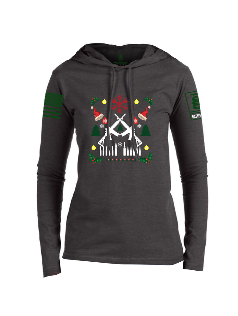 Battleraddle AR15 Cross Rifle Bullet Links Christmas Holiday Ugly Green Sleeve Womens Thin Cotton Lightweight Hoodie