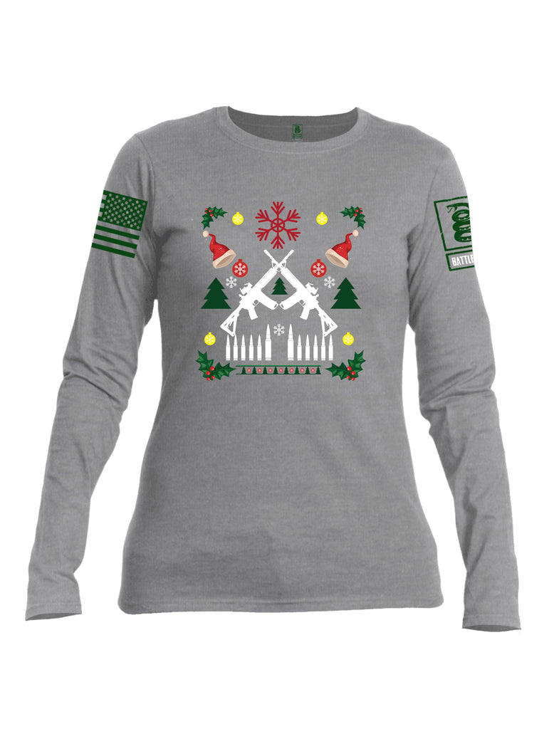Battleraddle AR15 Cross Rifle Bullet Links Christmas Holiday Ugly Green Sleeve Print Womens Cotton Long Sleeve Crew Neck T Shirt