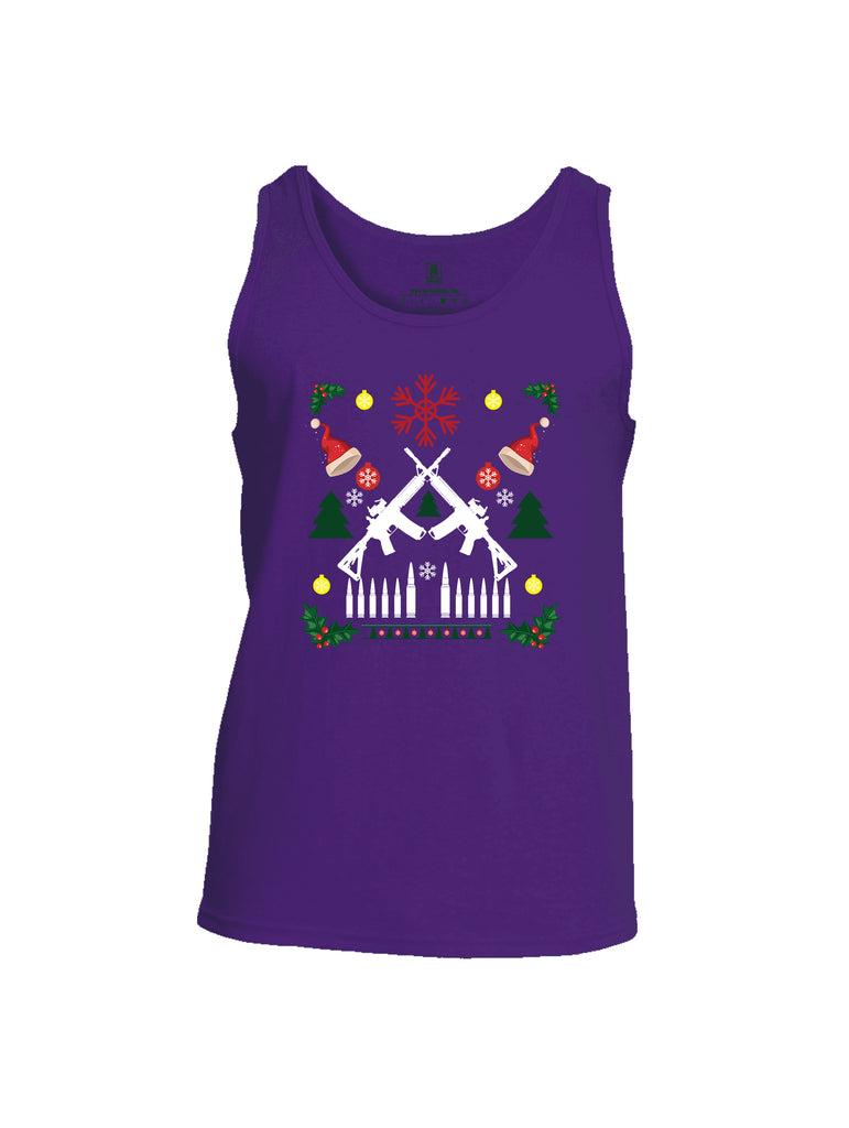 Battleraddle AR15 Cross Rifle Bullet Links Christmas Holiday Ugly Mens Cotton Tank Top