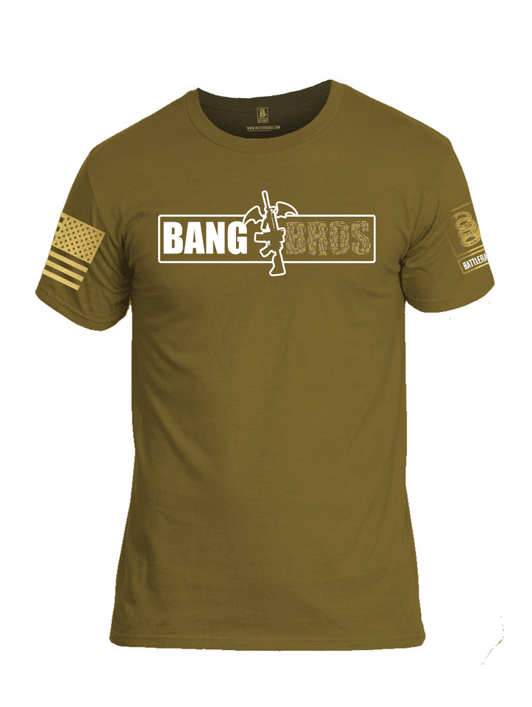 Battleraddle Bat Wing AR15 Bang Bros V2 BR Logo Brass Sleeve Print Mens Cotton Crew Neck T Shirt
