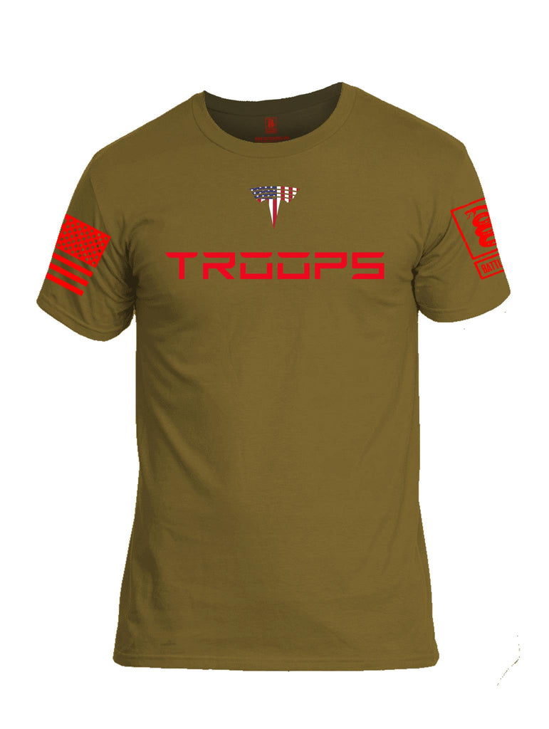 Battleraddle Troops Red Sleeve Print Mens Cotton Crew Neck T Shirt