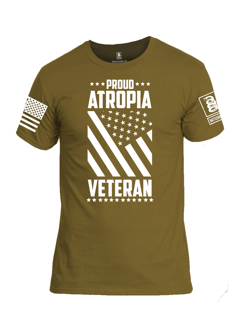 Battleraddle Proud Atropia Veteran White Sleeve Print Mens Cotton Crew Neck T Shirt