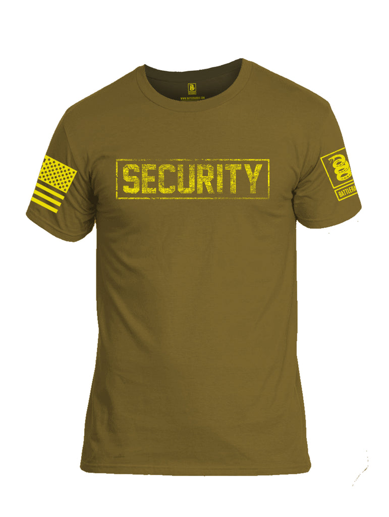 Battleraddle Security Yellow Sleeve Print Mens Cotton Crew Neck T Shirt