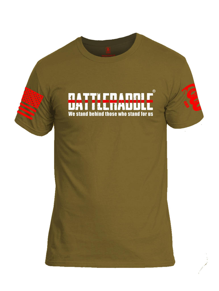 Battleraddle We Stand Behind Those Who Stand For Us Red Line Red Sleeve Print Mens Cotton Crew Neck T Shirt