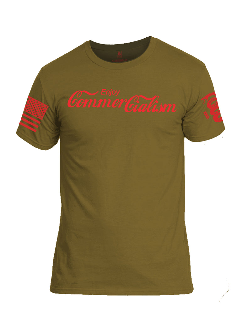 Battleraddle Enjoy Commercialism Red Sleeve Print Mens Cotton Crew Neck T Shirt