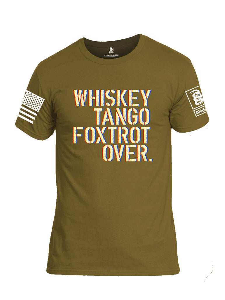 Battleraddle Whisky Tango Foxtrot Over White Sleeve Print Mens Cotton Crew Neck T Shirt