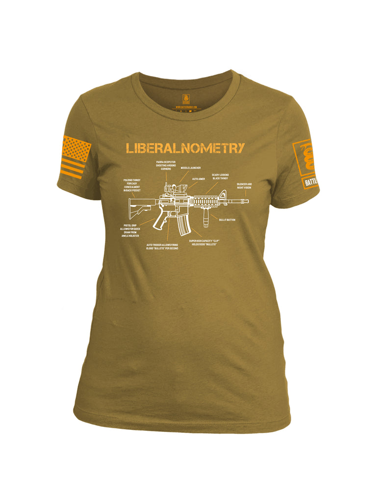 Battleraddle Liberalnometry V1 Orange Sleeve Print Womens Cotton Crew Neck T Shirt