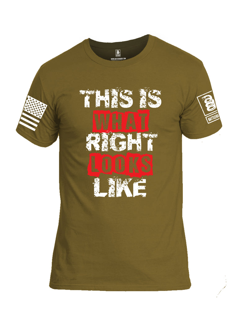 Battleraddle This Is What Right Looks Like White Sleeve Print Mens Cotton Crew Neck T Shirt