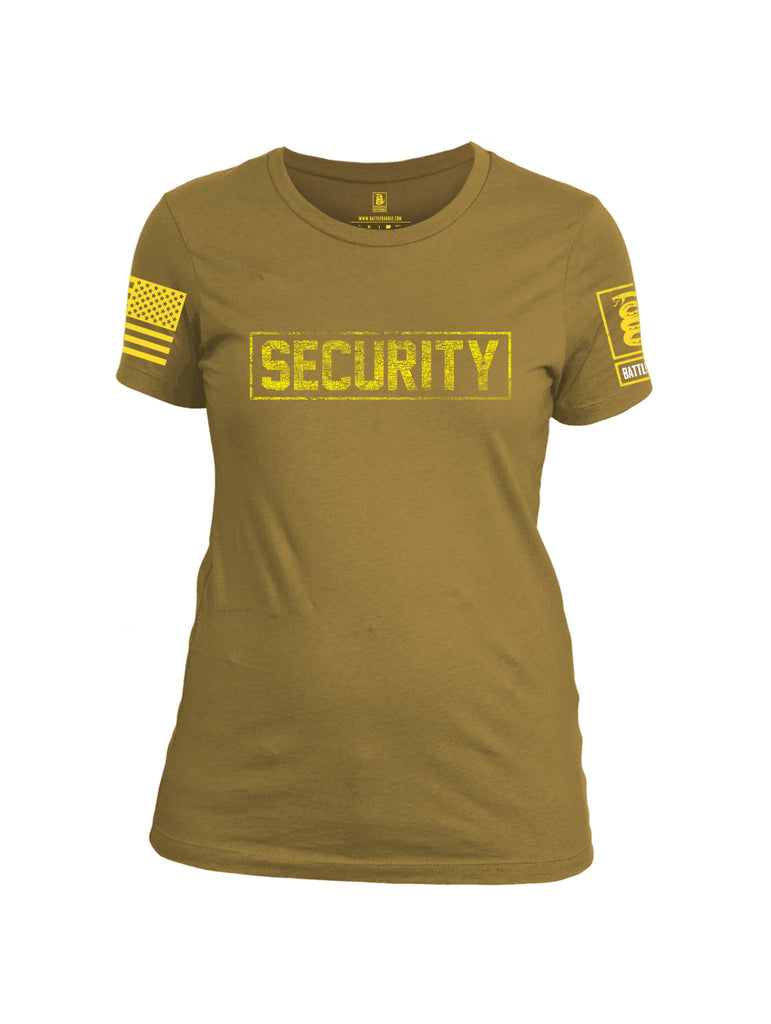 Battleraddle Security Yellow Sleeve Print Womens Cotton Crew Neck T Shirt