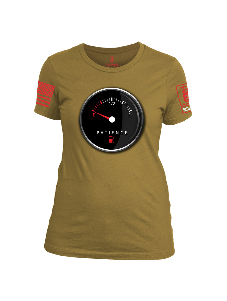 Battleraddle Patience Gauge Red Sleeve Print Womens Cotton Crew Neck T Shirt