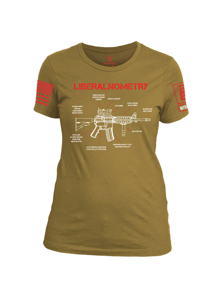 Battleraddle Liberalnometry V2 Red Sleeve Print Womens Cotton Crew Neck T Shirt