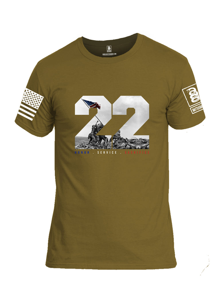 Battleraddle 22 Honor Service Sacrifice {sleeve_color} Sleeves Men Cotton Crew Neck T-Shirt