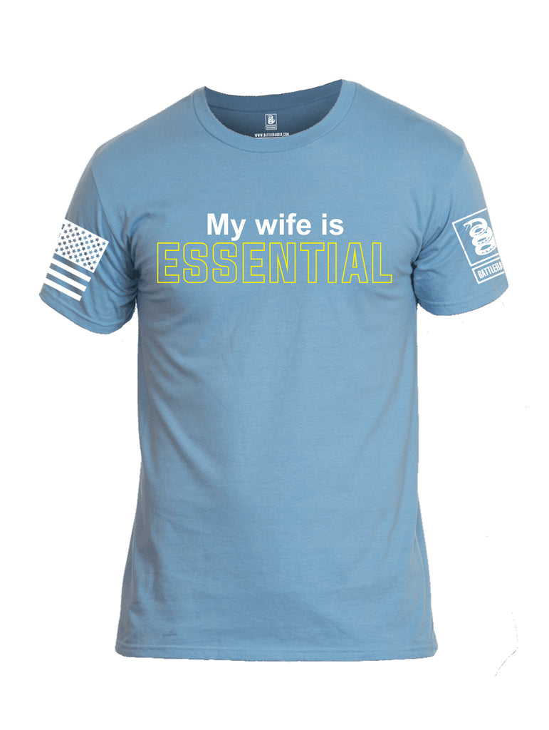 Battleraddle My Wife Is Essential {sleeve_color} Sleeves Men Cotton Crew Neck T-Shirt