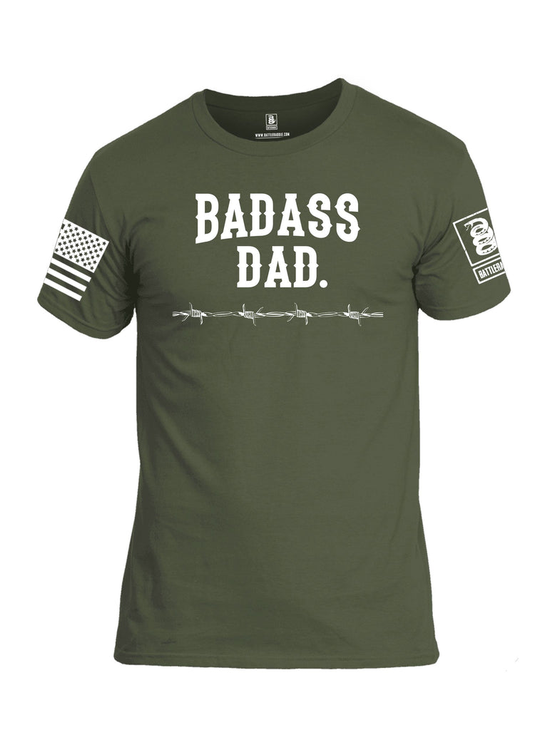Battleraddle Badass Dad White Sleeves Men Cotton Crew Neck T-Shirt