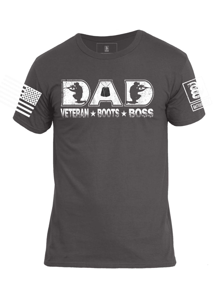 Battleraddle DAD Veteran Boots Boss White Sleeve Print Mens Cotton Crew Neck T Shirt