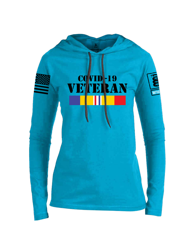 Battleraddle Covid 19 Veteran {sleeve_color} Sleeves Women Cotton Thin Cotton Lightweight Hoodie