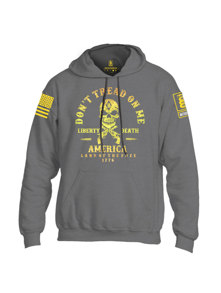 Battleraddle Don't Tread On Me Liberty Or Death America Land Of The Free 1776 Yellow Sleeve Print Mens Blended Hoodie With Pockets