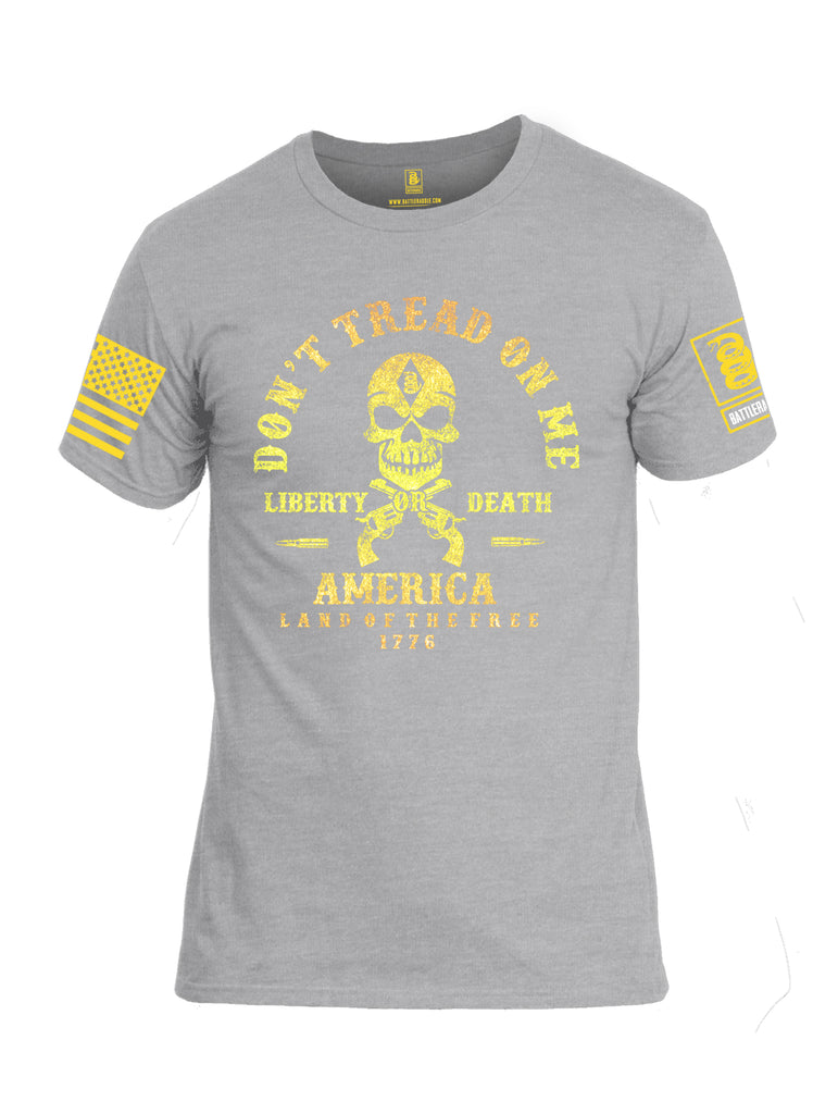 Battleraddle Don't Tread On Me Liberty Or Death America Land Of The Free 1776 Yellow Sleeve Print Mens Cotton Crew Neck T Shirt