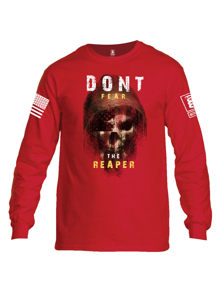 Battleraddle Dont Fear The Reaper White Sleeve Print Mens Cotton Long Sleeve Crew Neck T Shirt