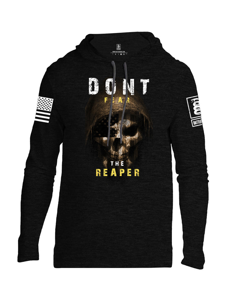 Battleraddle Dont Fear The Reaper White Sleeve Print Mens Thin Cotton Lightweight Hoodie