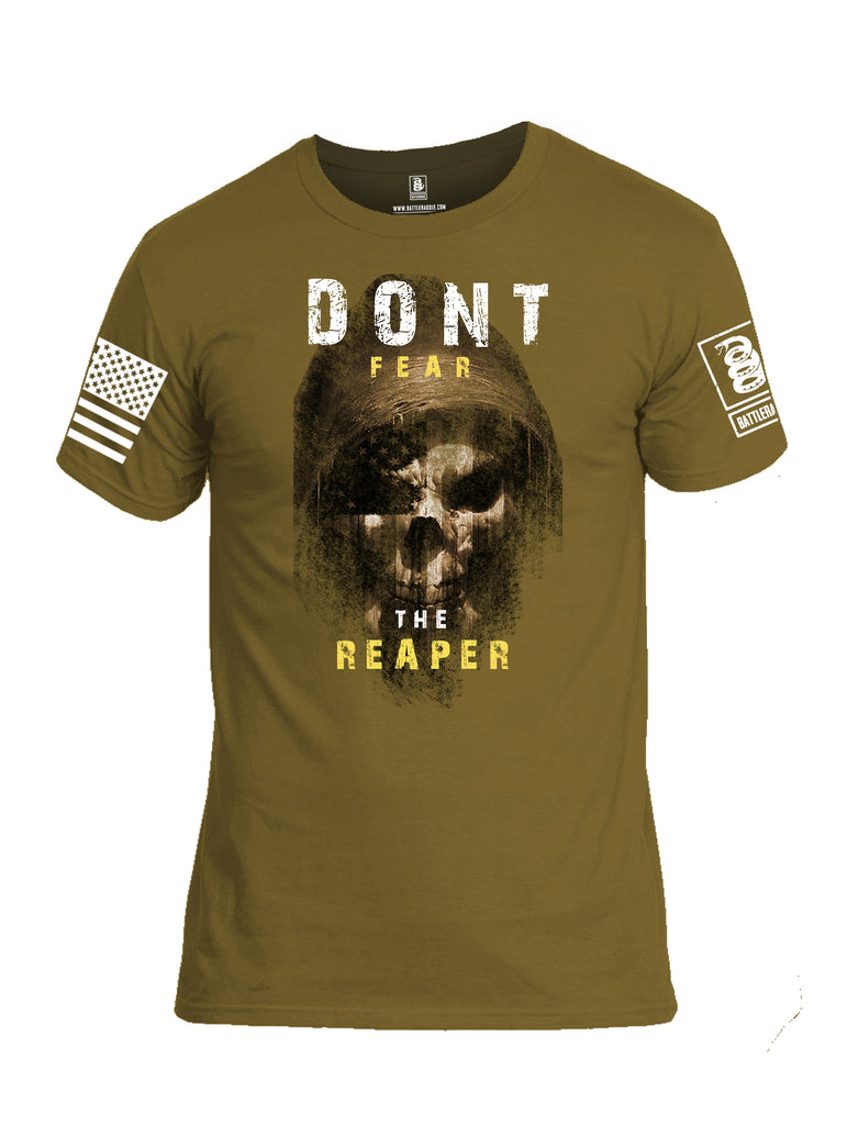 Battleraddle Dont Fear The Reaper White Sleeve Print Mens Cotton Crew Neck T Shirt